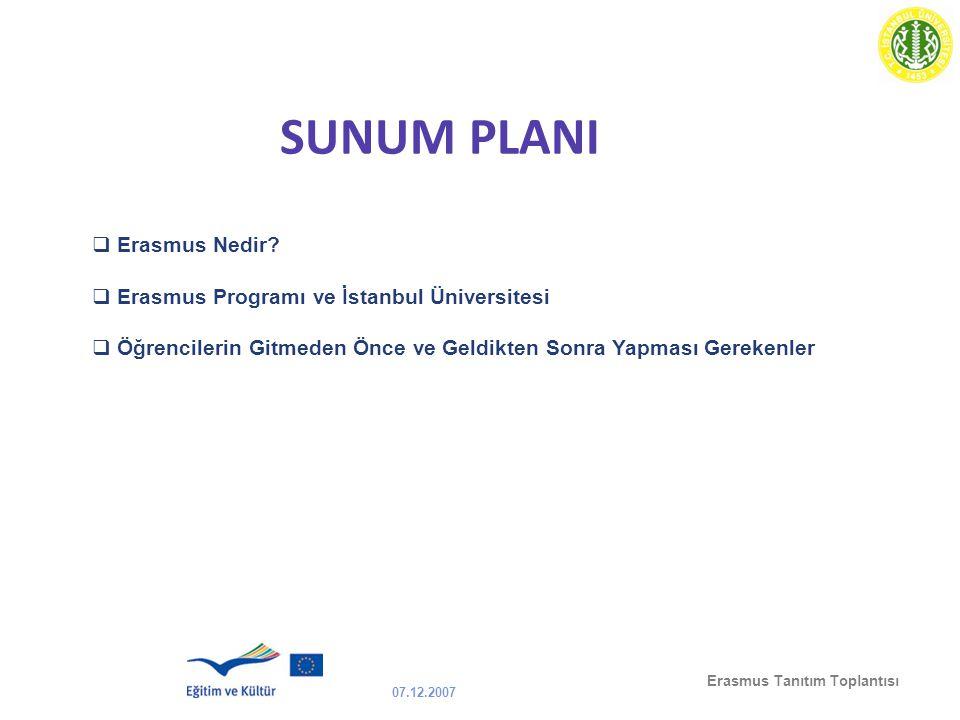 07.12.2007 Erasmus Tanıtım Toplantısı SUNUM PLANI  Erasmus Nedir?  Erasmus Programı ve İstanbul Üniversitesi  Öğrencilerin Gitmeden Önce ve Geldikt