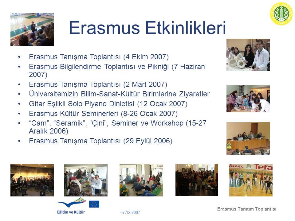 07.12.2007 Erasmus Tanıtım Toplantısı Erasmus Etkinlikleri Erasmus Tanışma Toplantısı (4 Ekim 2007) Erasmus Bilgilendirme Toplantısı ve Pikniği (7 Haz