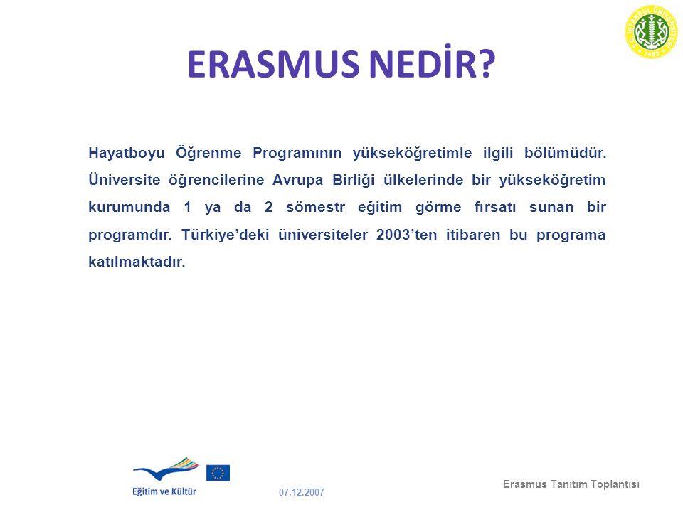 07.12.2007 Erasmus Tanıtım Toplantısı ERASMUS NEDİR? Hayatboyu Öğrenme Programının yükseköğretimle ilgili bölümüdür. Üniversite öğrencilerine Avrupa B