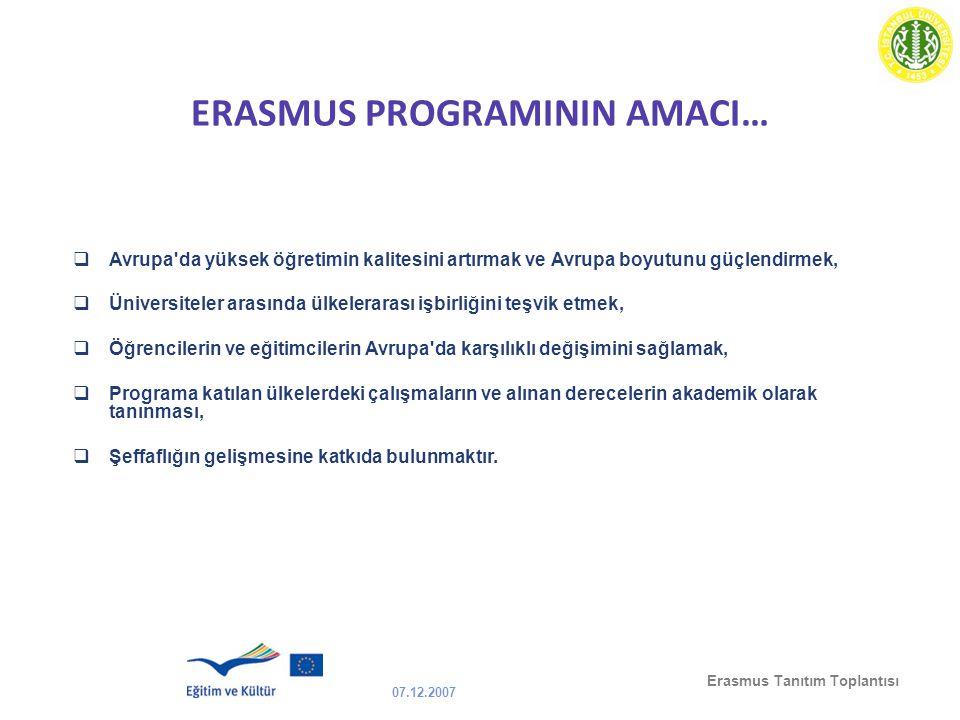 07.12.2007 Erasmus Tanıtım Toplantısı ERASMUS PROGRAMININ AMACI…  Avrupa'da yüksek öğretimin kalitesini artırmak ve Avrupa boyutunu güçlendirmek,  Ü