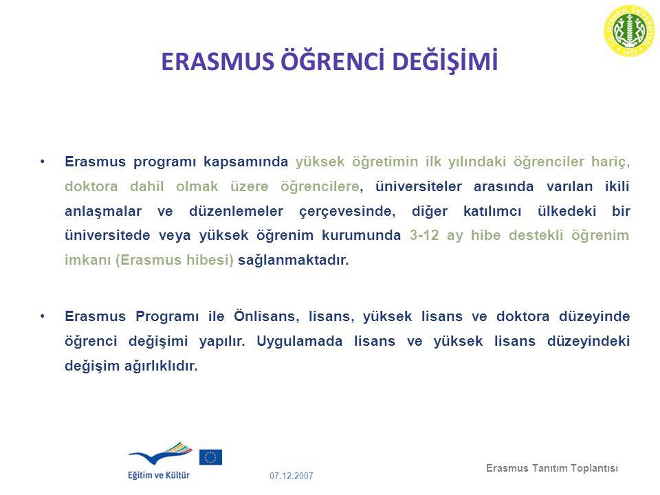 07.12.2007 Erasmus Tanıtım Toplantısı ERASMUS ÖĞRENCİ DEĞİŞİMİ Erasmus programı kapsamında yüksek öğretimin ilk yılındaki öğrenciler hariç, doktora da
