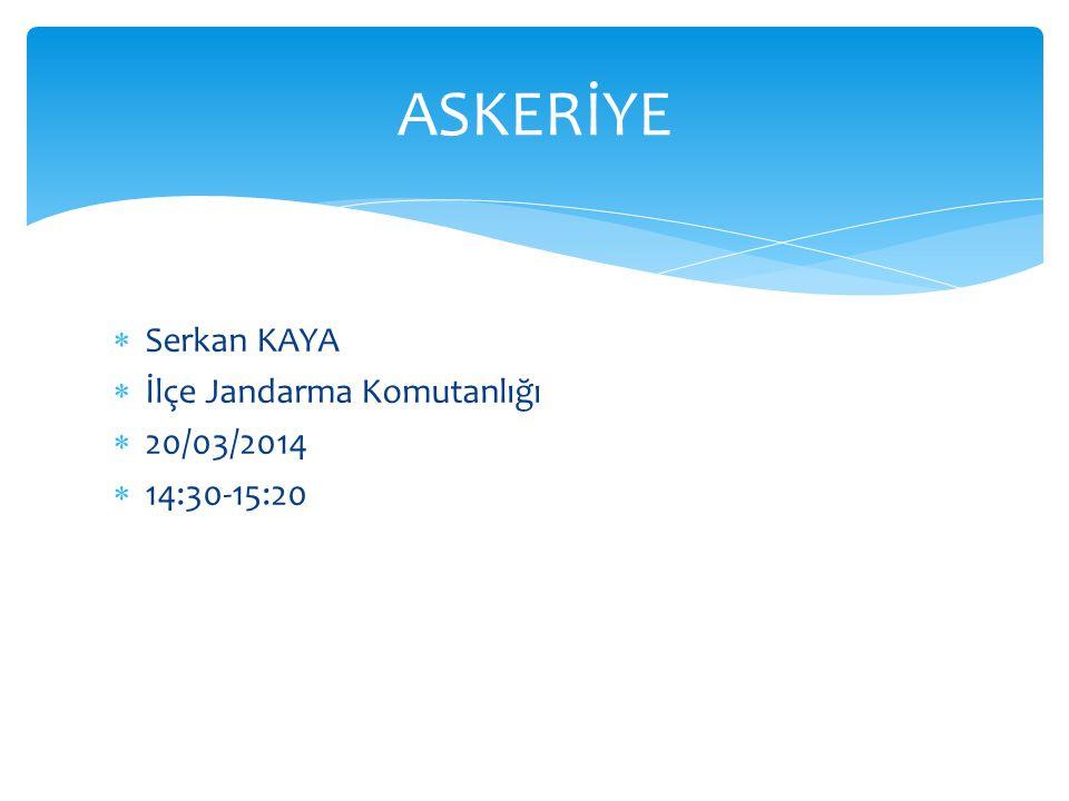  Serkan KAYA  İlçe Jandarma Komutanlığı  20/03/2014  14:30-15:20 ASKERİYE