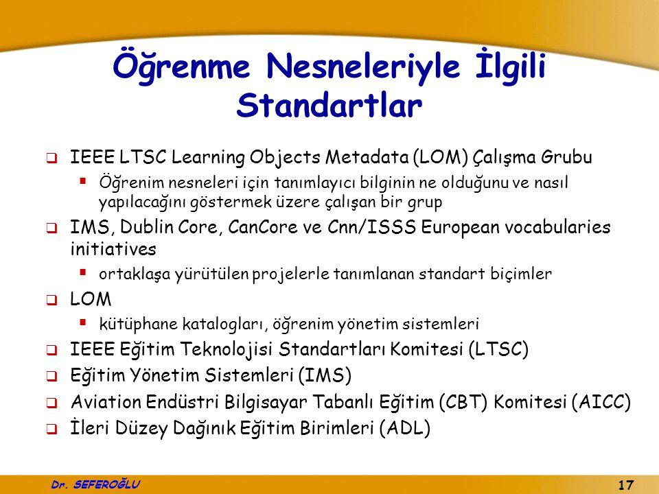 Dr. SEFEROĞLU 17 Öğrenme Nesneleriyle İlgili Standartlar  IEEE LTSC Learning Objects Metadata (LOM) Çalışma Grubu  Öğrenim nesneleri için tanımlayıc