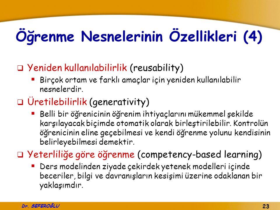 Dr. SEFEROĞLU 23 Öğrenme Nesnelerinin Özellikleri (4)  Yeniden kullanılabilirlik (reusability)  Birçok ortam ve farklı amaçlar için yeniden kullanıl