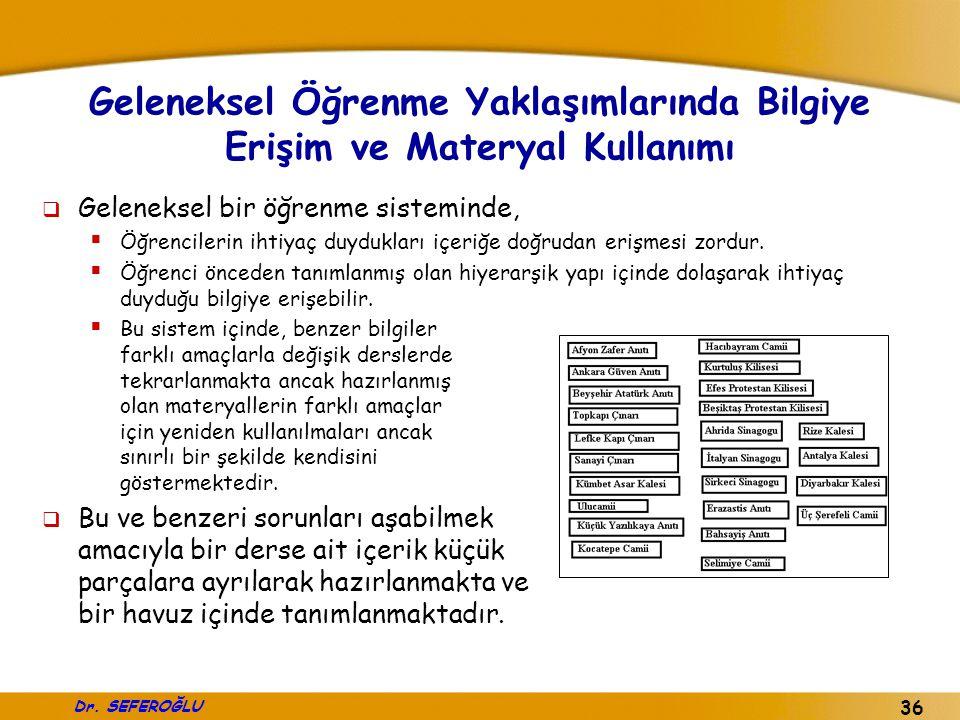 Dr. SEFEROĞLU 36 Geleneksel Öğrenme Yaklaşımlarında Bilgiye Erişim ve Materyal Kullanımı  Geleneksel bir öğrenme sisteminde,  Öğrencilerin ihtiyaç d