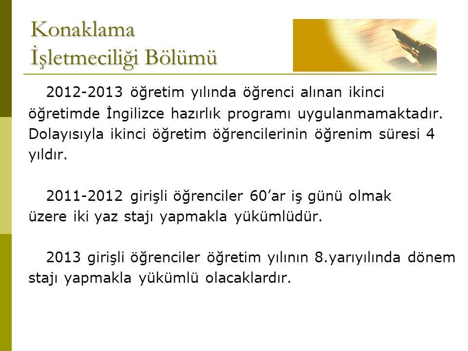 Konaklama İşletmeciliği Bölümü 2012-2013 öğretim yılında öğrenci alınan ikinci öğretimde İngilizce hazırlık programı uygulanmamaktadır. Dolayısıyla ik