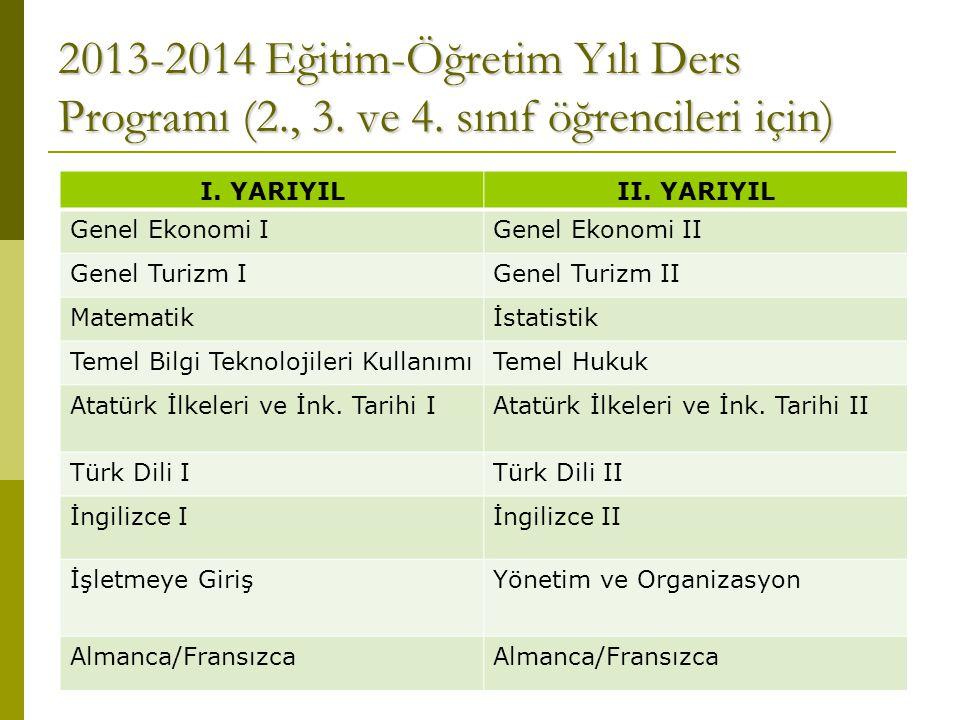 2013-2014 Eğitim-Öğretim Yılı Ders Programı (2., 3. ve 4. sınıf öğrencileri için) I. YARIYILII. YARIYIL Genel Ekonomi IGenel Ekonomi II Genel Turizm I
