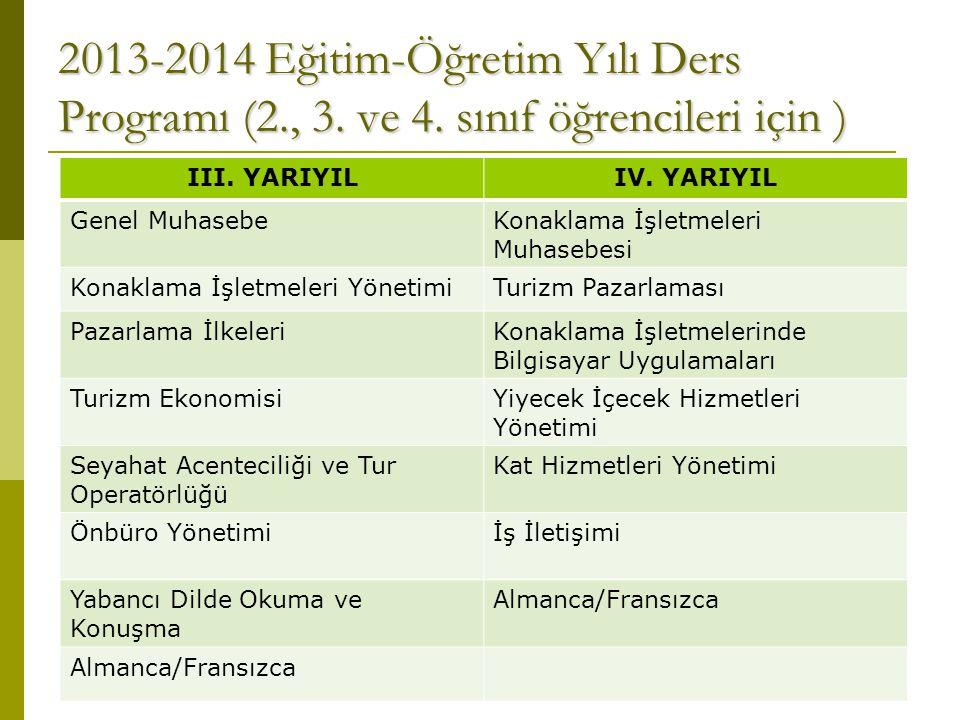 2013-2014 Eğitim-Öğretim Yılı Ders Programı (2., 3. ve 4. sınıf öğrencileri için ) III. YARIYILIV. YARIYIL Genel MuhasebeKonaklama İşletmeleri Muhaseb