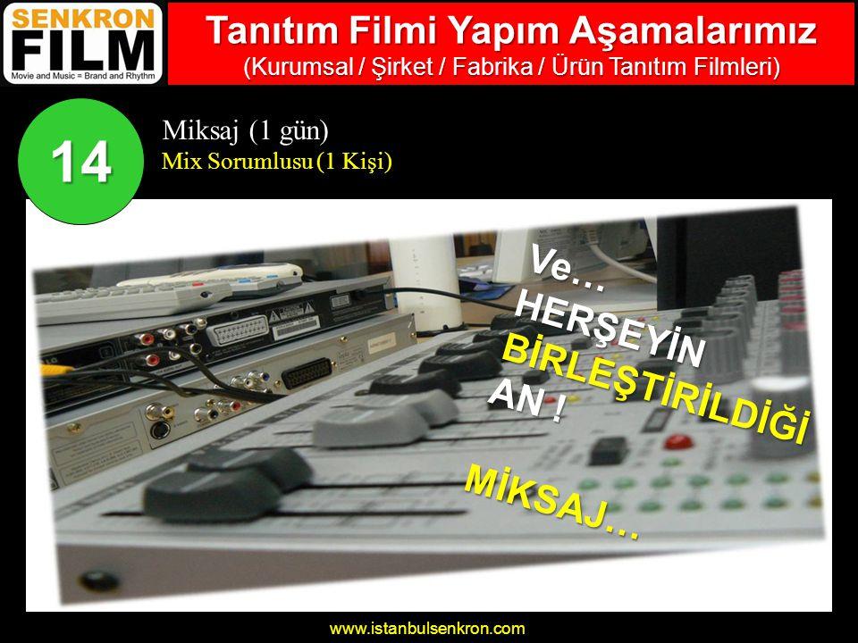 www.istanbulsenkron.com Miksaj (1 gün) Mix Sorumlusu (1 Kişi) 14 Ve…HERŞEYİNBİRLEŞTİRİLDİĞİ AN .