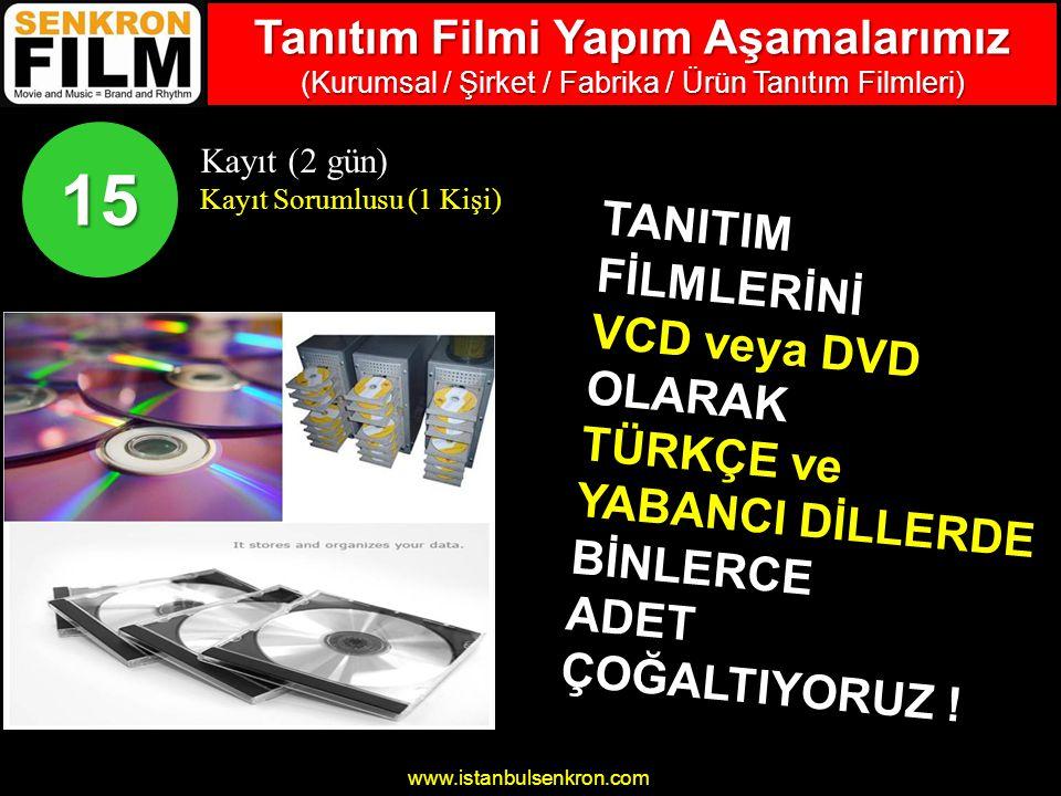 www.istanbulsenkron.com Kayıt (2 gün) Kayıt Sorumlusu (1 Kişi) 15 TANITIMFİLMLERİNİ VCD veya DVD OLARAK TÜRKÇE ve YABANCI DİLLERDE BİNLERCEADET ÇOĞALTIYORUZ .