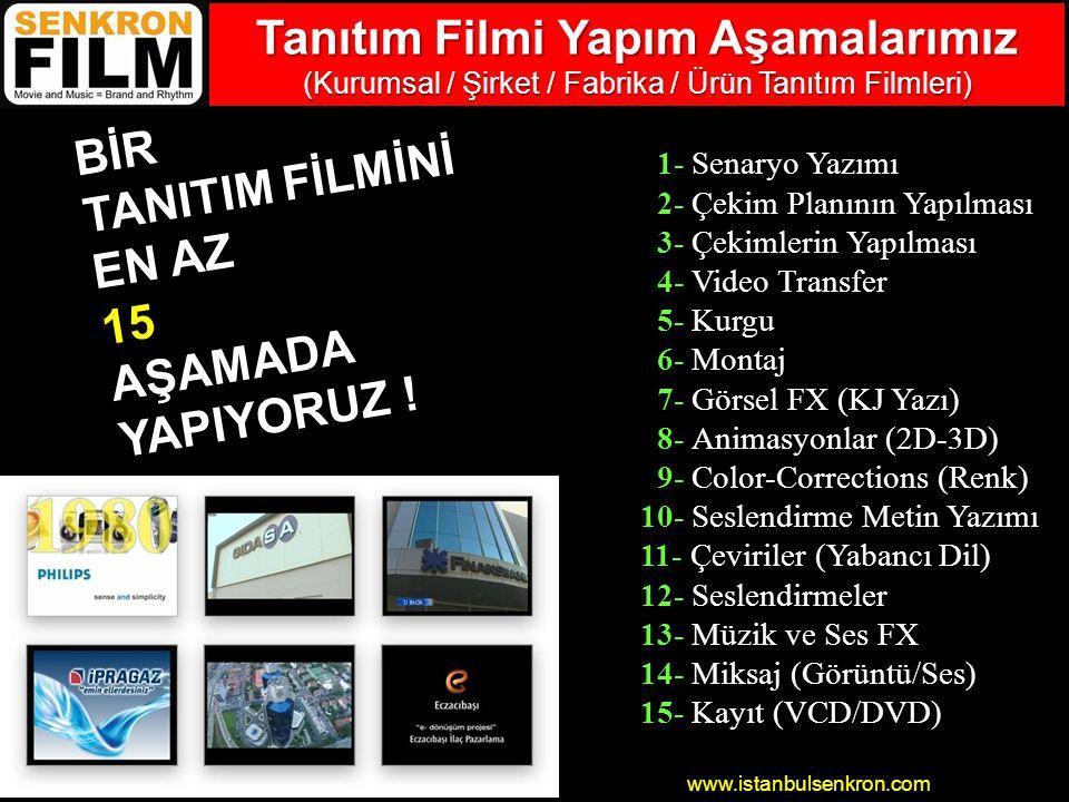 www.istanbulsenkron.com 1- Senaryo Yazımı 2- Çekim Planının Yapılması 3- Çekimlerin Yapılması 4- Video Transfer 5- Kurgu 6- Montaj 7- Görsel FX (KJ Yazı) 8- Animasyonlar (2D-3D) 9- Color-Corrections (Renk) 10- Seslendirme Metin Yazımı 11- Çeviriler (Yabancı Dil) 12- Seslendirmeler 13- Müzik ve Ses FX 14- Miksaj (Görüntü/Ses) 15- Kayıt (VCD/DVD) BİR TANITIM FİLMİNİ EN AZ 15AŞAMADA YAPIYORUZ .