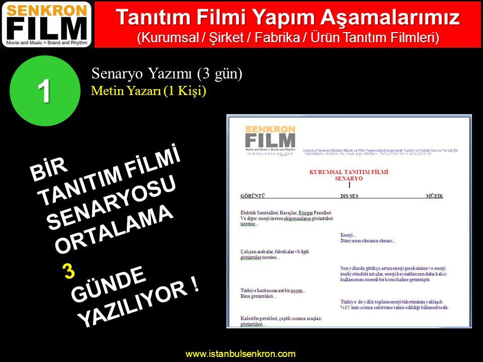 www.istanbulsenkron.com Senaryo Yazımı (3 gün) Metin Yazarı (1 Kişi) BİR TANITIM FİLMİ SENARYOSU ORTALAMA 3 GÜNDE YAZILIYOR .