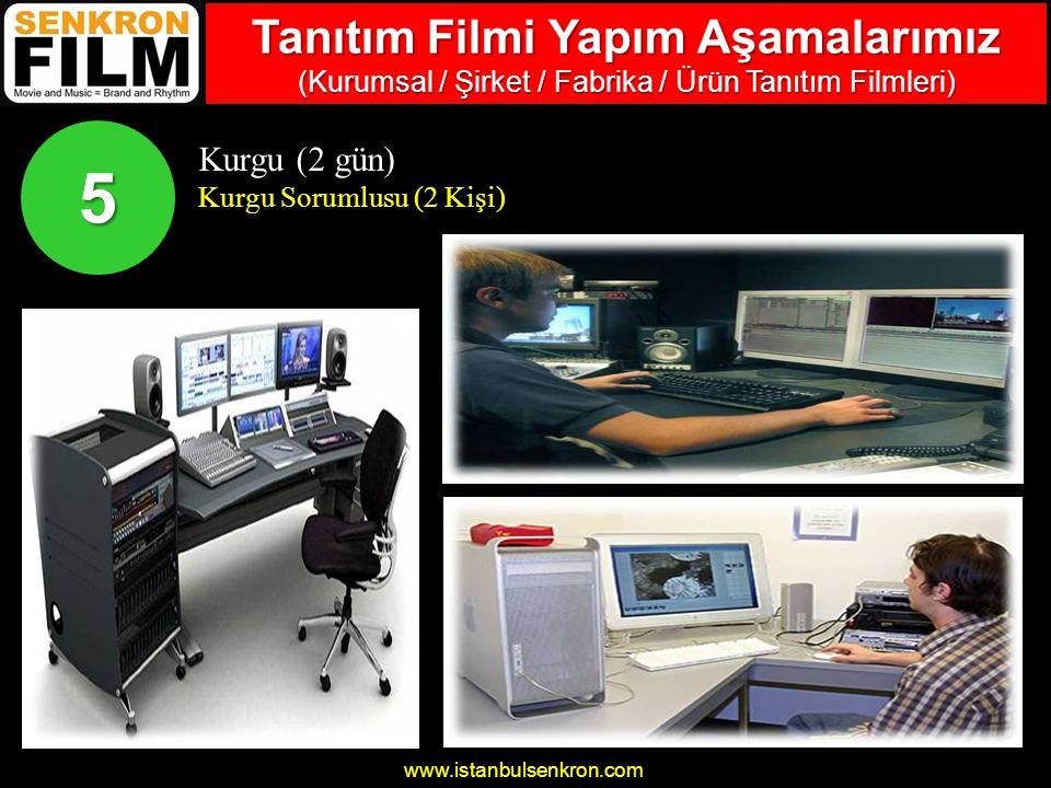 www.istanbulsenkron.com Kurgu (2 gün) Kurgu Sorumlusu (2 Kişi) 5 Tanıtım Filmi Yapım Aşamalarımız (Kurumsal / Şirket / Fabrika / Ürün Tanıtım Filmleri)