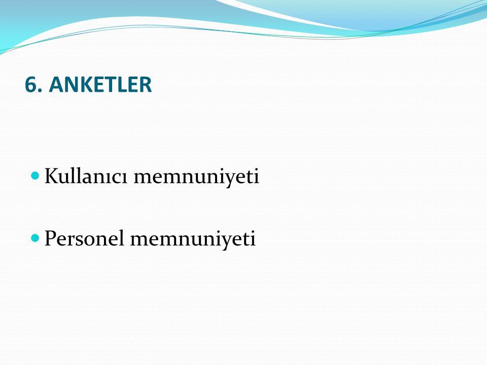 Kullanıcı memnuniyeti Personel memnuniyeti 6. ANKETLER