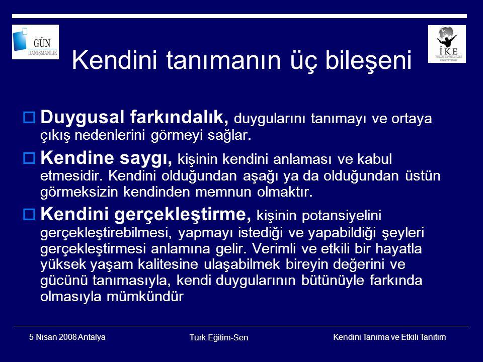 Kendini Tanıma ve Etkili Tanıtım Türk Eğitim-Sen 5 Nisan 2008 Antalya Kendini Kabul  Kendisiyle gurur duymak,  Kendini olumlu bir bağlamda görmek,  Güçlü ve zayıf yanlarını tanımak,  Kendine gülebilmek.