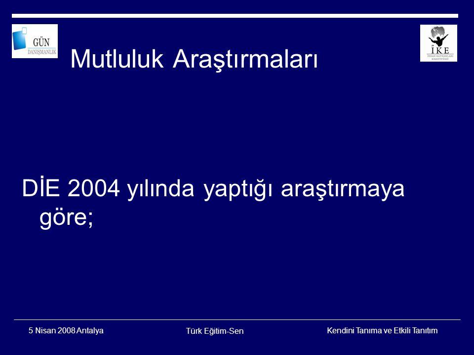 Kendini Tanıma ve Etkili Tanıtım Türk Eğitim-Sen 5 Nisan 2008 Antalya Genel mutluluk düzeyi (Bir bütün olarak yaşamınızı düşündüğünüzde ne kadar mutlusunuz?) DİE, 2004 YAŞAM MEMNUNİYETİ ARAŞTIRMASI 58,0