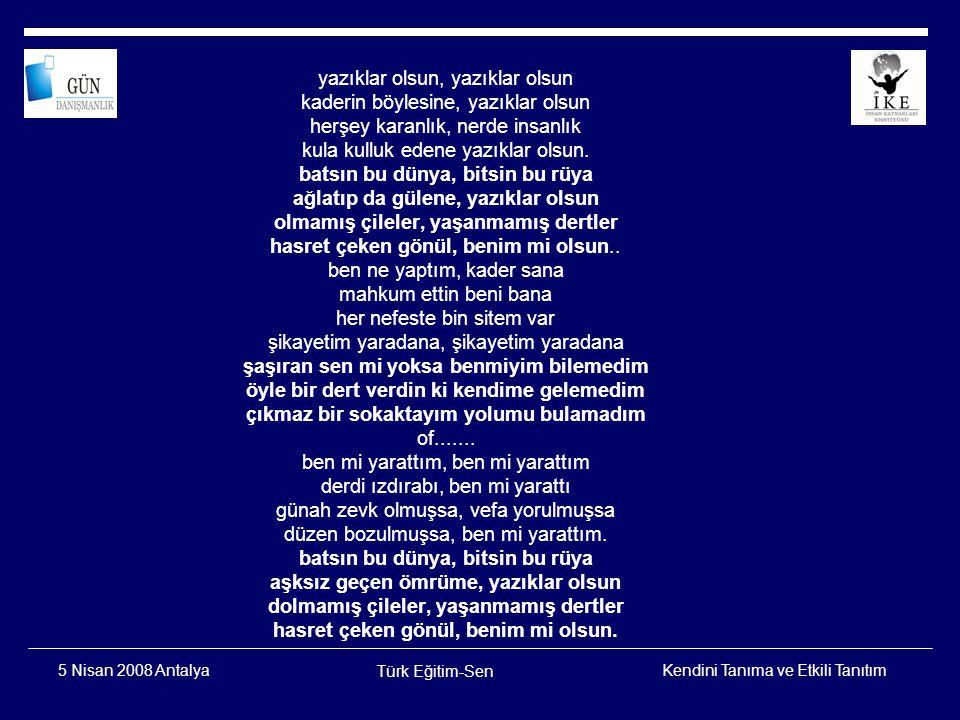 Kendini Tanıma ve Etkili Tanıtım Türk Eğitim-Sen 5 Nisan 2008 Antalya Duygular Davranışlar Düşünceler