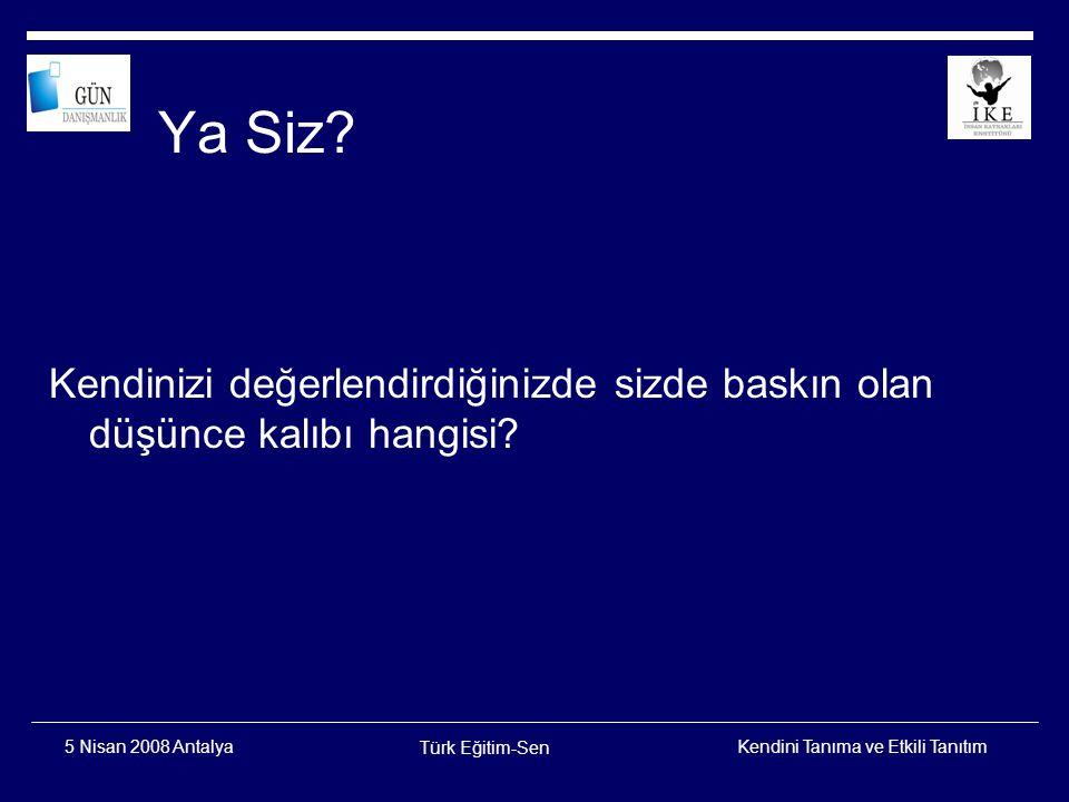 Kendini Tanıma ve Etkili Tanıtım Türk Eğitim-Sen 5 Nisan 2008 Antalya Bilişsel Çarpıtmalar  Genelleme  Keyfi Çıkarsama  Kişiselleştirme  Kutuplaşmış Düşünce  Abartma  Meli-Malı  Değiştirme Yanılgısı  Zihin Okuma  Facialaştırma  Etiketleme  Bağımlılık  Sorumluluğu Atma  Esef Etme  Kontrol Edememe Yanılgısı  Büyüklük Yanılgısı  Kendine Acıma  Neme lazımcılık