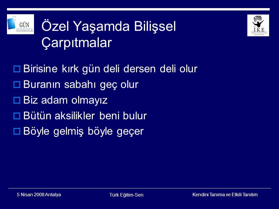 Kendini Tanıma ve Etkili Tanıtım Türk Eğitim-Sen 5 Nisan 2008 Antalya Ellis'in ABC'si A B C B nedir?