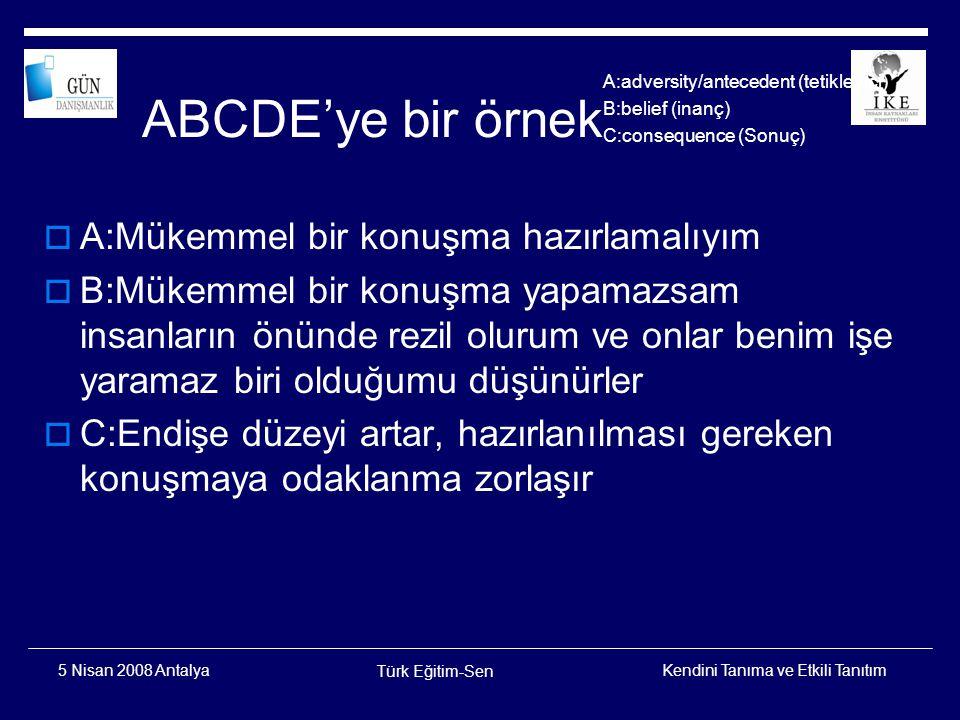 Kendini Tanıma ve Etkili Tanıtım Türk Eğitim-Sen 5 Nisan 2008 Antalya D,E  D:Mükemmel bir konuşma konusunda gerçekçi düşünüyor muyum.