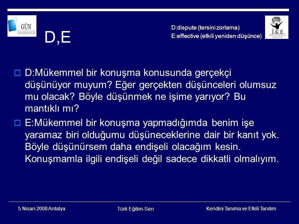 Kendini Tanıma ve Etkili Tanıtım Türk Eğitim-Sen 5 Nisan 2008 Antalya Ne Yapmalıyız.