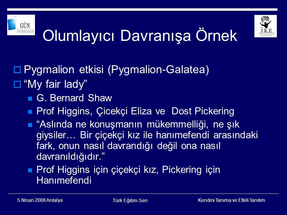 Kendini Tanıma ve Etkili Tanıtım Türk Eğitim-Sen 5 Nisan 2008 Antalya OM