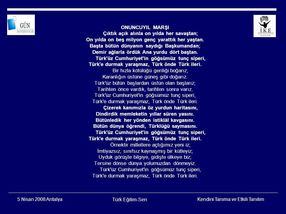 Kendini Tanıma ve Etkili Tanıtım Türk Eğitim-Sen 5 Nisan 2008 Antalya Afiyet Olsun