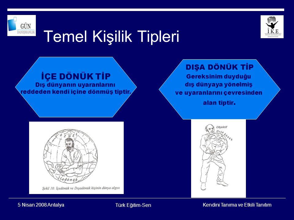 Kendini Tanıma ve Etkili Tanıtım Türk Eğitim-Sen 5 Nisan 2008 Antalya KİŞİLİK SINIFLAMASI İDARECİ (ND) ANALİTİK (SD) KEŞFEDİCİ (SH) İNSANCIL (NH) HİSSETME DÜŞÜNME DUYUMSAMA SEZGİ N S D H ALGI YARGIYARGI