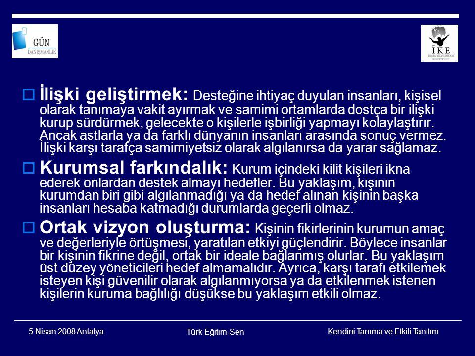 Kendini Tanıma ve Etkili Tanıtım Türk Eğitim-Sen 5 Nisan 2008 Antalya  Fikrin güçlü ifadesi (hitabet): Bir fikri aktarmak için heyecan uyandıran, hatırda kalan, akılda ve yürekte iz bırakan güçlü bir sunuş yapmak gerekir.