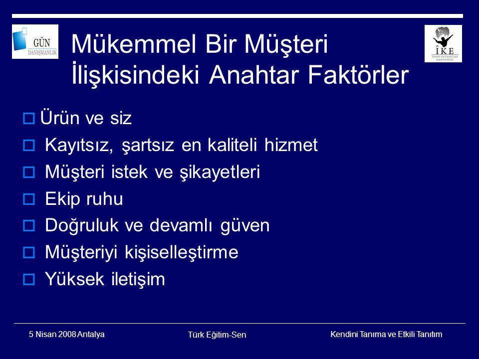 Kendini Tanıma ve Etkili Tanıtım Türk Eğitim-Sen 5 Nisan 2008 Antalya Müşterileriniz için Organizasyonel Yaklaşımlar  Doğru Müşterileri Hedefleyiniz  Müşterilerinizin Tecrübesini Yönetiniz  Onlarla Olan Tüm Süreçleri Entegre Ediniz  Kişiselleştirilmiş Hizmetler Sağlayınız  Kendi Aralarında İletişimi Teşvik Ediniz