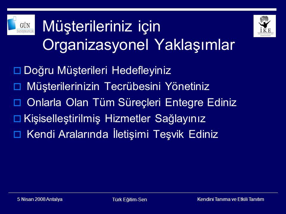 Kendini Tanıma ve Etkili Tanıtım Türk Eğitim-Sen 5 Nisan 2008 Antalya Teşekkürler Erdal USLUER 0312 428 51 51 / 0532 351 41 07 www.gundanisman.com eusluer@gmail.com