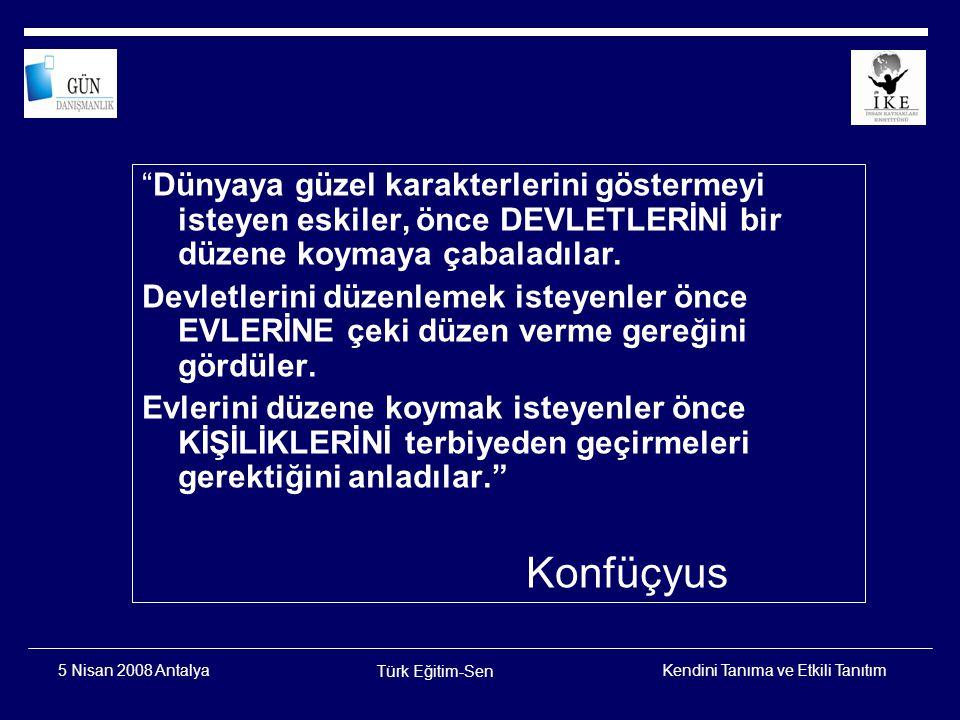 Kendini Tanıma ve Etkili Tanıtım Türk Eğitim-Sen 5 Nisan 2008 Antalya İNSAN…
