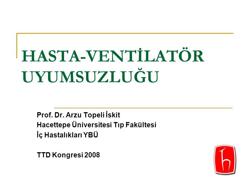 HASTA-VENTİLATÖR UYUMSUZLUĞU Prof. Dr. Arzu Topeli İskit Hacettepe Üniversitesi Tıp Fakültesi İç Hastalıkları YBÜ TTD Kongresi 2008