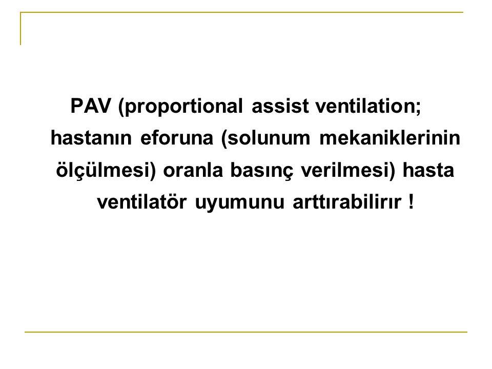 PAV (proportional assist ventilation; hastanın eforuna (solunum mekaniklerinin ölçülmesi) oranla basınç verilmesi) hasta ventilatör uyumunu arttırabil
