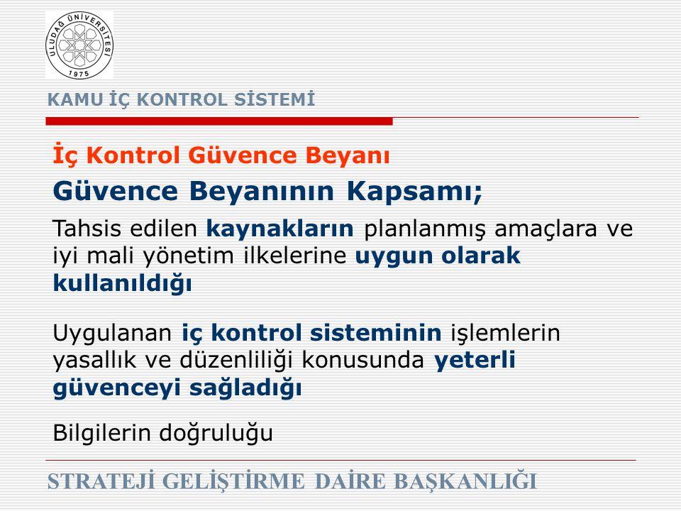 KAMU İÇ KONTROL SİSTEMİ STRATEJİ GELİŞTİRME DAİRE BAŞKANLIĞI İç Kontrol Güvence Beyanı Güvence Beyanının Kapsamı; Tahsis edilen kaynakların planlanmış