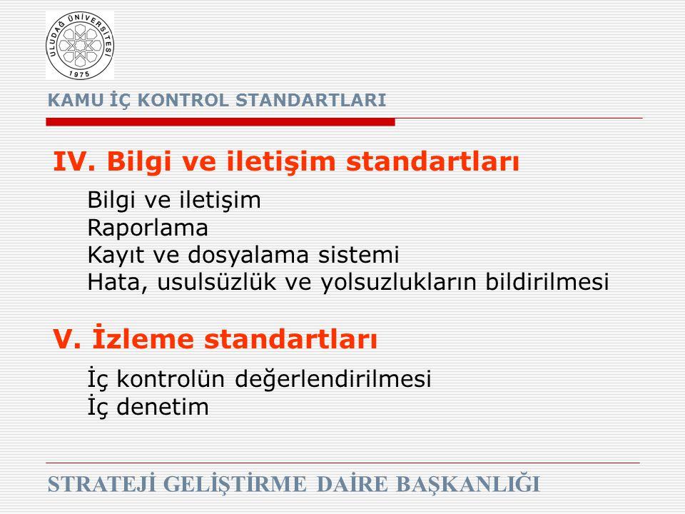 KAMU İÇ KONTROL STANDARTLARI STRATEJİ GELİŞTİRME DAİRE BAŞKANLIĞI IV. Bilgi ve iletişim standartları Bilgi ve iletişim Raporlama Kayıt ve dosyalama si