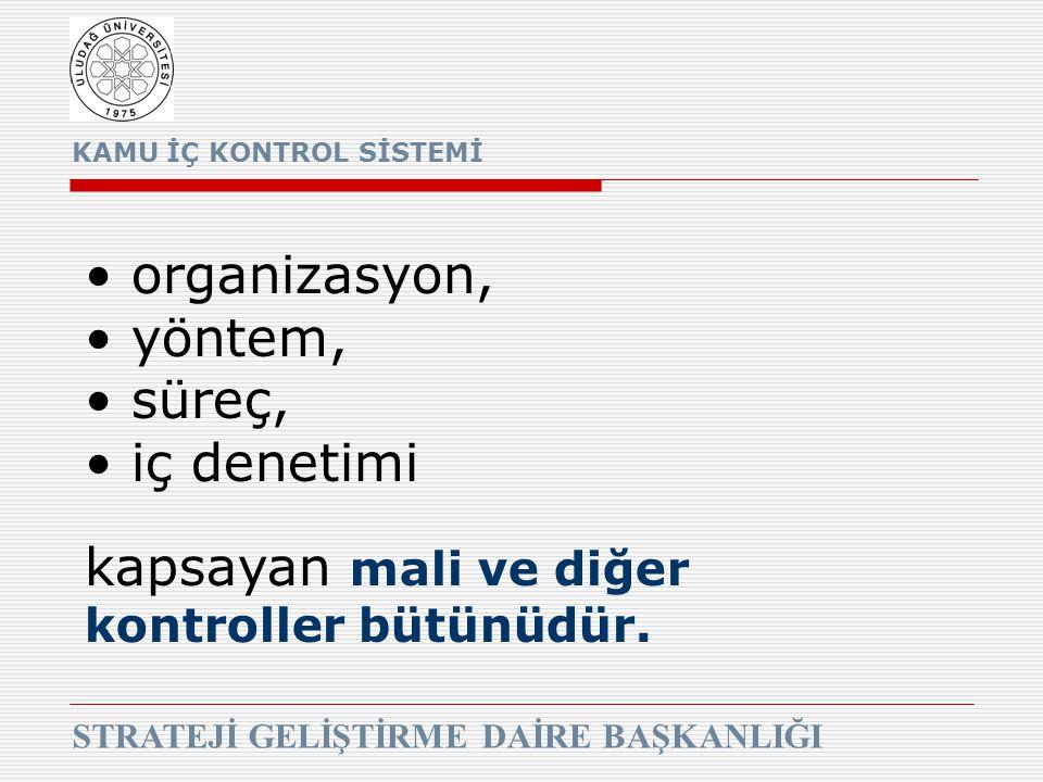 KAMU İÇ KONTROL SİSTEMİ STRATEJİ GELİŞTİRME DAİRE BAŞKANLIĞI organizasyon, yöntem, süreç, iç denetimi kapsayan mali ve diğer kontroller bütünüdür.