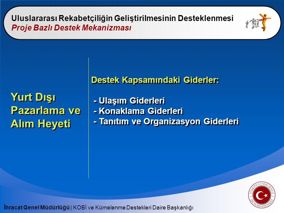 İhracat Genel Müdürlüğü | KOBİ ve Kümelenme Destekleri Daire Başkanlığı Uluslararası Rekabetçiliğin Geliştirilmesinin Desteklenmesi Proje Bazlı Destek Mekanizması Yurt Dışı Pazarlama ve Alım Heyeti Destek Kapsamındaki Giderler: - Ulaşım Giderleri - Konaklama Giderleri - Tanıtım ve Organizasyon Giderleri Destek Kapsamındaki Giderler: - Ulaşım Giderleri - Konaklama Giderleri - Tanıtım ve Organizasyon Giderleri