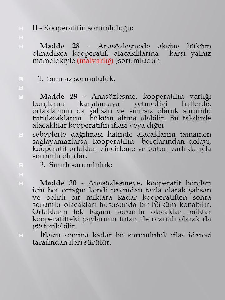  II - Kooperatifin sorumluluğu:   Madde 28 - Anasözleşmede aksine hüküm olmadıkça kooperatif, alacaklılarına karşı yalnız mamelekiyle (malvarlığı )