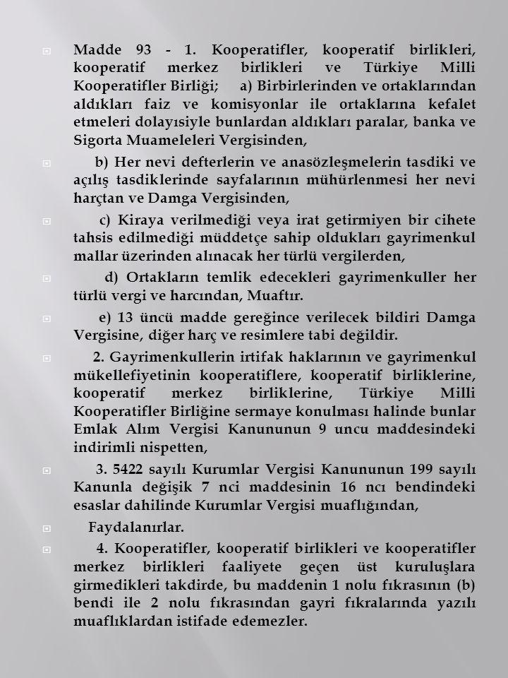  Madde 93 - 1. Kooperatifler, kooperatif birlikleri, kooperatif merkez birlikleri ve Türkiye Milli Kooperatifler Birliği; a) Birbirlerinden ve ortakl