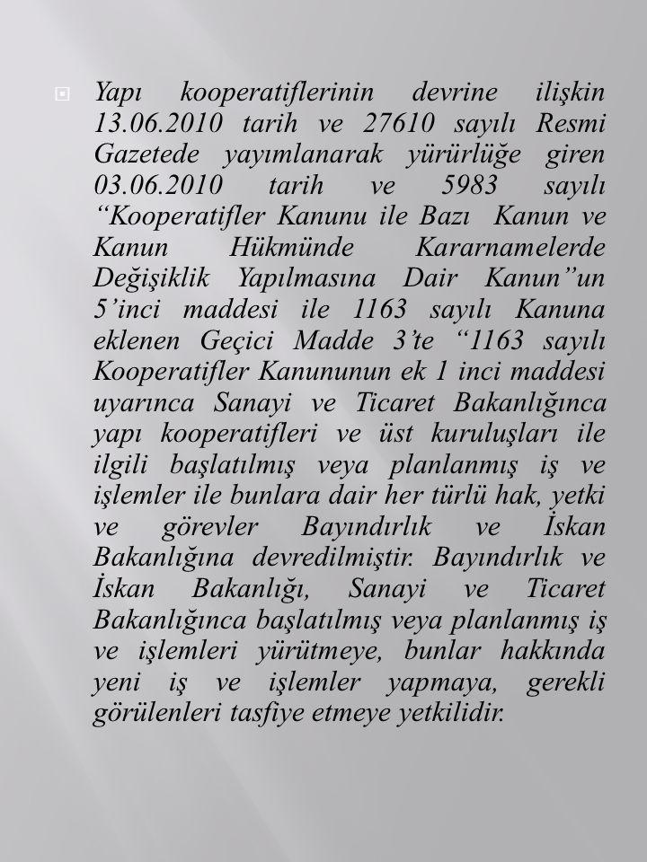  Yapı kooperatiflerinin devrine ilişkin 13.06.2010 tarih ve 27610 sayılı Resmi Gazetede yayımlanarak yürürlüğe giren 03.06.2010 tarih ve 5983 sayılı