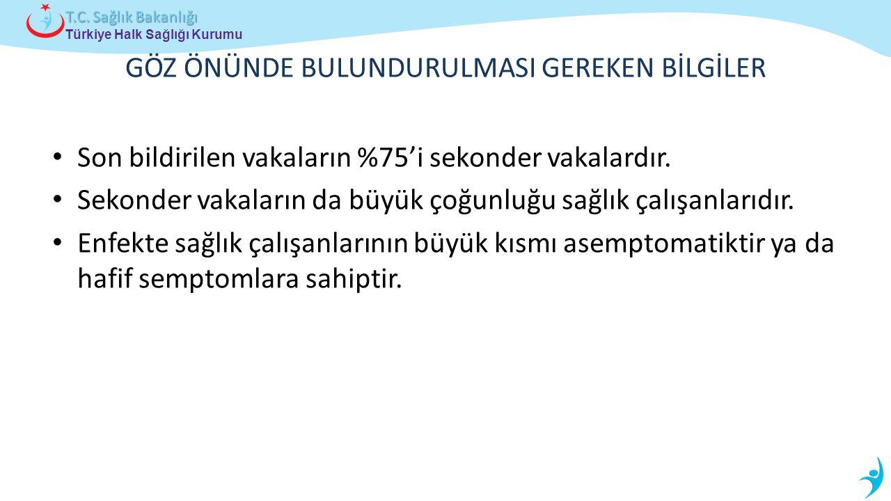 Türkiye Halk Sağlığı Kurumu T.C. Sağlık Bakanlığı GÖZ ÖNÜNDE BULUNDURULMASI GEREKEN BİLGİLER Son bildirilen vakaların %75'i sekonder vakalardır. Sekon