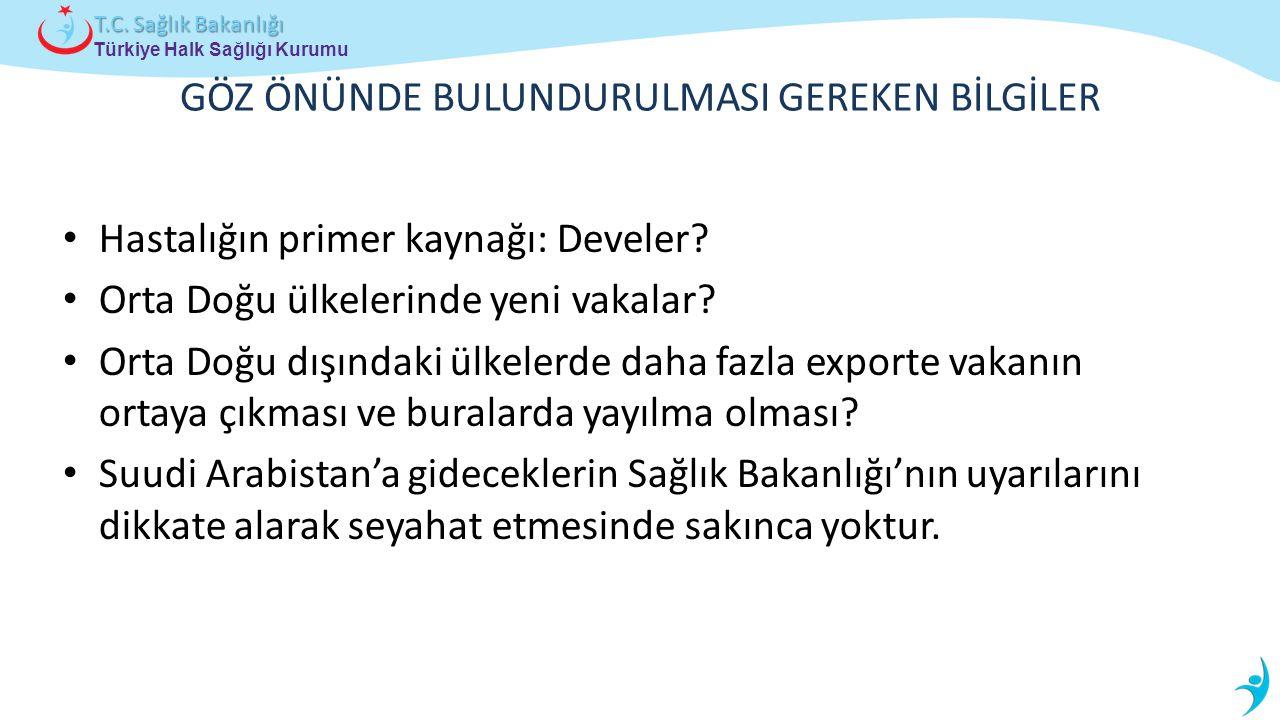Türkiye Halk Sağlığı Kurumu T.C. Sağlık Bakanlığı Hastalığın primer kaynağı: Develer? Orta Doğu ülkelerinde yeni vakalar? Orta Doğu dışındaki ülkelerd