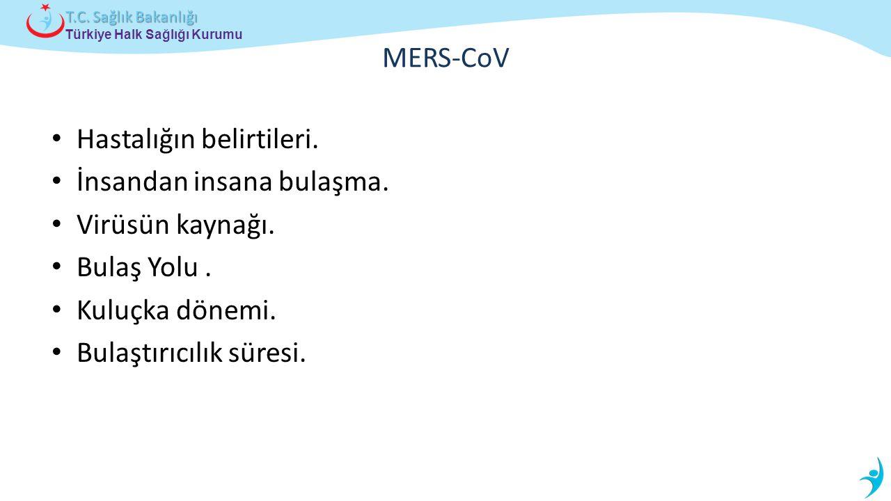 Türkiye Halk Sağlığı Kurumu T.C. Sağlık Bakanlığı MERS-CoV Hastalığın belirtileri. İnsandan insana bulaşma. Virüsün kaynağı. Bulaş Yolu. Kuluçka dönem