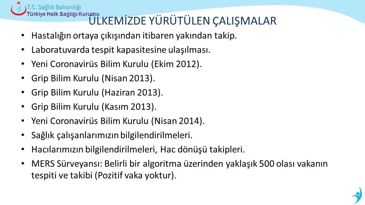 Türkiye Halk Sağlığı Kurumu T.C. Sağlık Bakanlığı ÜLKEMİZDE YÜRÜTÜLEN ÇALIŞMALAR Hastalığın ortaya çıkışından itibaren yakından takip. Laboratuvarda t