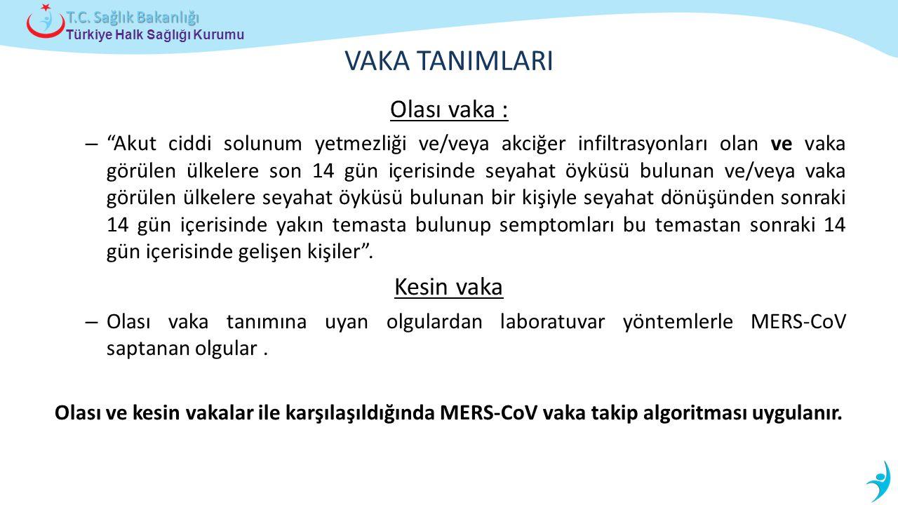 """Türkiye Halk Sağlığı Kurumu T.C. Sağlık Bakanlığı VAKA TANIMLARI Olası vaka : – """"Akut ciddi solunum yetmezliği ve/veya akciğer infiltrasyonları olan v"""