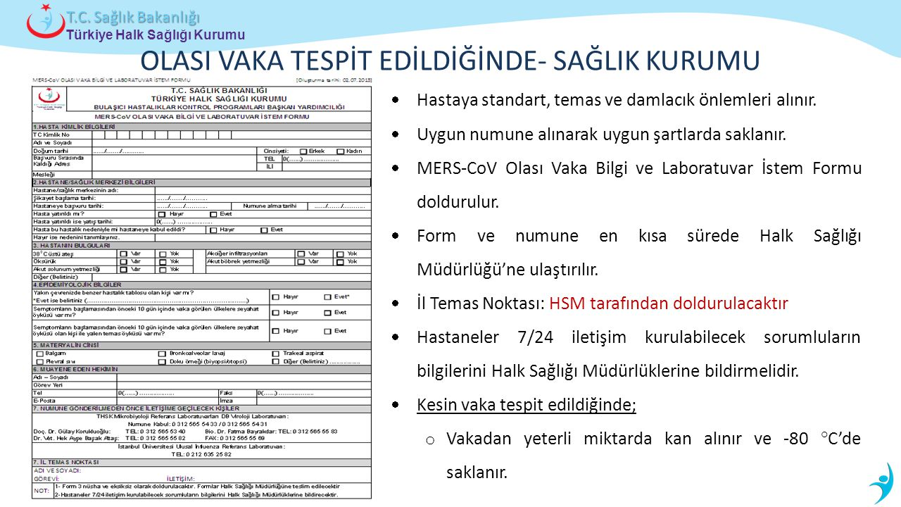 Türkiye Halk Sağlığı Kurumu T.C. Sağlık Bakanlığı OLASI VAKA TESPİT EDİLDİĞİNDE- SAĞLIK KURUMU  Hastaya standart, temas ve damlacık önlemleri alınır.