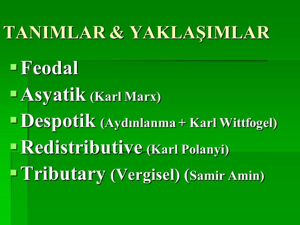 TANIMLAR & YAKLAŞIMLAR  Feodal  Asyatik (Karl Marx)  Despotik (Aydınlanma + Karl Wittfogel)  Redistributive (Karl Polanyi)  Tributary (Vergisel) ( Samir Amin)  Tributary (Vergisel) ( Samir Amin)