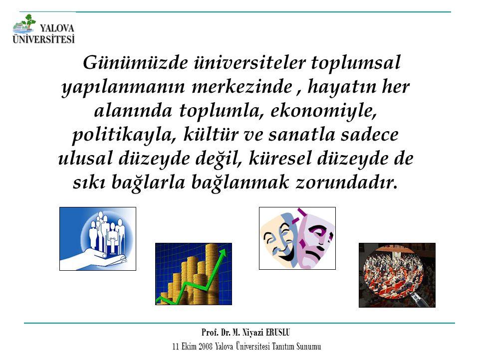 Prof. Dr. M. Niyazi ERUSLU 11 Ekim 2008 Yalova Üniversitesi Tanıtım Sunumu Günümüzde üniversiteler toplumsal yapılanmanın merkezinde, hayatın her alan