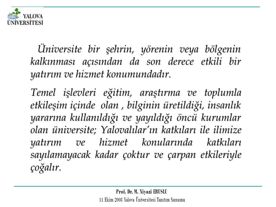 Prof. Dr. M. Niyazi ERUSLU 11 Ekim 2008 Yalova Üniversitesi Tanıtım Sunumu Üniversite bir şehrin, yörenin veya bölgenin kalkınması açısından da son de